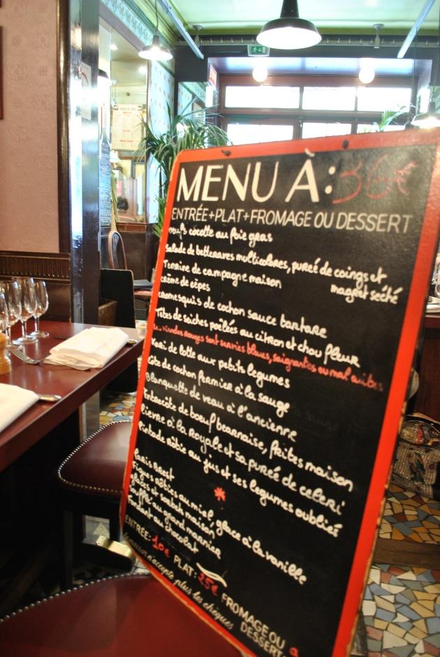 Les menu, Bistrot Paul Bert