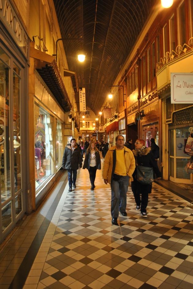 Passage Jouffroy, Paris, in the evening