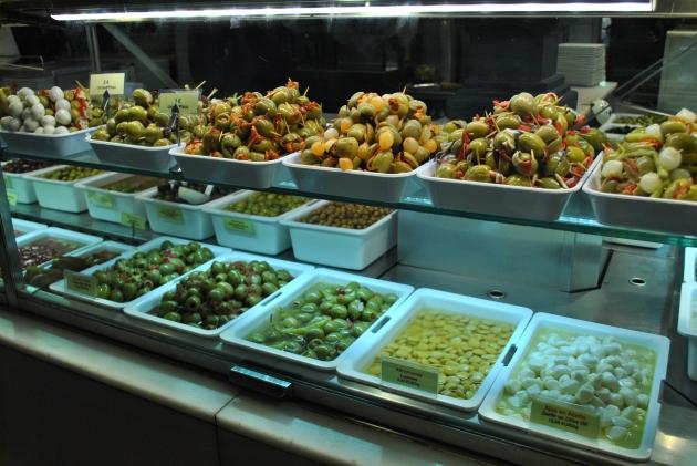 Stuffed olive stand, Mercado San Miguel, Madrid, Spain