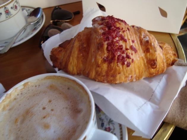 Pierre Hermé's raspberry croissant taken from café terrace