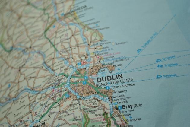 Dublin Ireland on a map